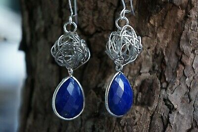 Lapis Lazuli Earrings Natural Faceted Gemstone Tear Drop Fine Solid 925 Silver