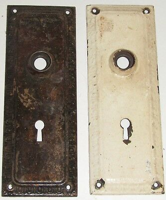 Pair Vintage Antique Metal Door Lock/Latch Key Plates,1 painted,1 not, 7 inch