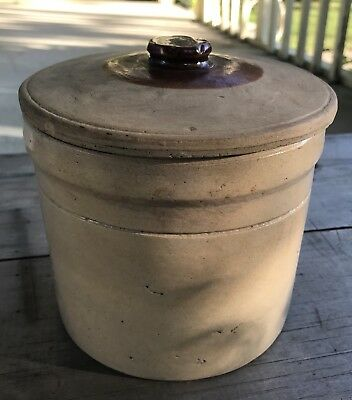 Antique Stoneware Pottery Storage Crock Butter Jar With Lid