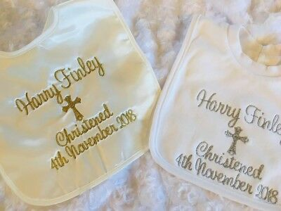 Personalised  satin Christening bib   GLITTER embroidery