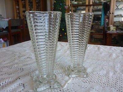 Depression Glass Vases Matching Pair Ribbed Square Shape