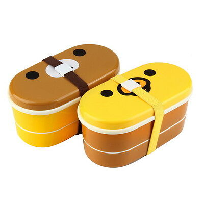 Lovely High Heat Resistance Double Layers Chopsticks Plastic Bento Lunch Box GDF