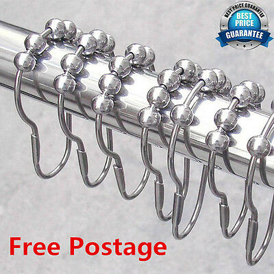 12 Polished Satin Nickel 5 Rollerball Shower Curtain Rings Curtain Hooks UGS#