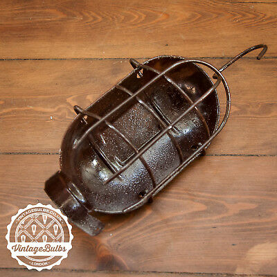 Vintage Retro Industrial metal Work Lamp Cage Guard Rusty Sea Salt