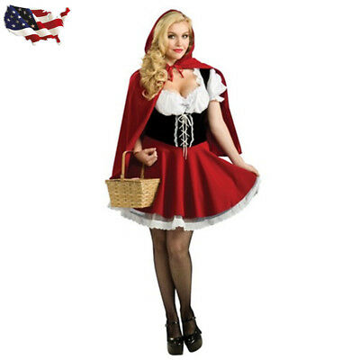 US Halloween Little Red Riding Hood Costume Women Cosplay Outfit Size S-3XL