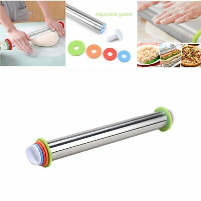 17 inch Stainless Steel Rolling Pin Non-stick Fondant Cake Dough D6