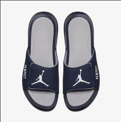33b2fb937571 NEW MENS 8 10 NIKE JORDAN RE2PECT HYDRO 6 SLIDES BLUE GREY WHITE 881473  retro