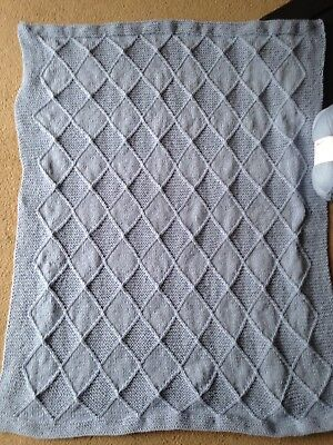 Pale Blue Hand Knitted Baby Blanket & Jumper