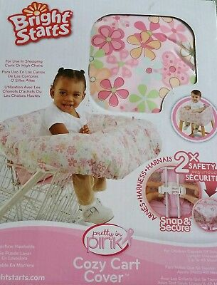 BRIGHT STARS baby girl pink flower cozy shopping cart, high chair cover