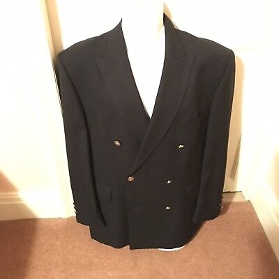 jaeger mens Vintage Blazer Navy Jacket Brass Buttons Double Breasted Small ? Vgc