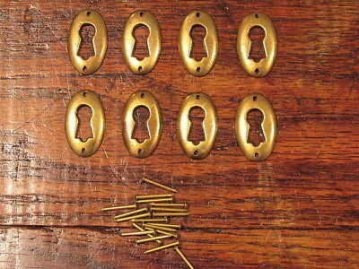 Lot Of 8 Vintage Brass Escutcheon Oval Keyhole Covers