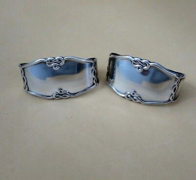 Lovely Antique Spanish Sterling Solid Silver Pair Napkin Rings Hallmarked