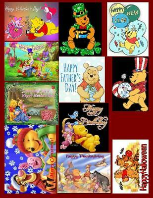 Winnie The Pooh Holiday, 11 Photo Fridge Magnets