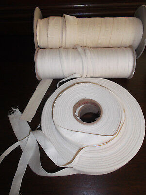 "10 yd Cotton Twill hem Tape diff color Craft Sewing 1/4"",  1/2"",  3/4"", 1"" wide"