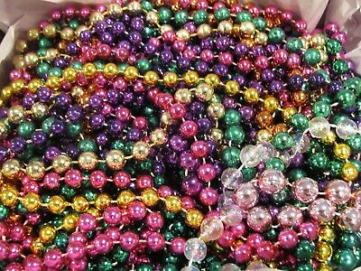 Lot Of 50 Assorted (Sizes And Colors) Mardi Gras Beads (Used)