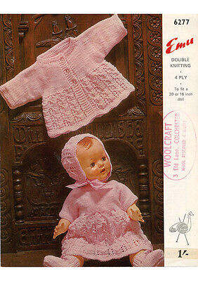 """VINTAGE KNITTING PATTERN COPY TO KNIT 16"""" & 20 """" DOLL OUTFIT - 1960's"""