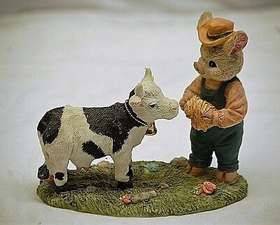 Whimsical Resin Pig Farmer Feeding Hay to Cow Figurine Shadowbox Shelf Decor
