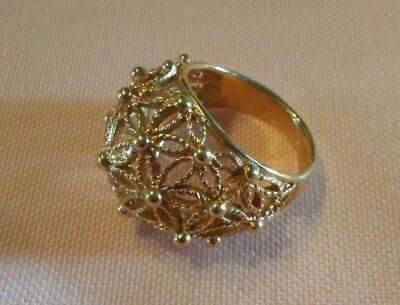 AVON Gold Tone Dome Ring, Floral Filigree, Size 6