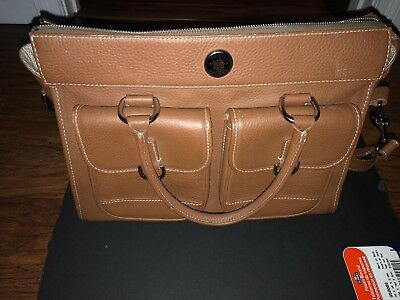 DOONEY & BOURKE Large Caramel Pebble Leather Satchel Handbag Shoulder Purse D-48
