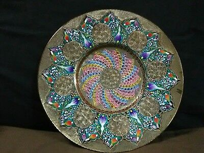 Unique Vtg.Turkish Handcrafted Enamel Floral Mosaic Etched/Engraved Copper Plate