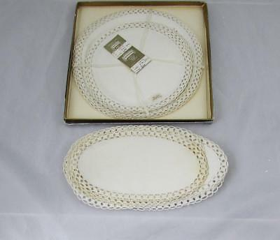 21 Vintage Madeira Imperial Crown Round & Oval Cocktail Linen Napkins in the Box
