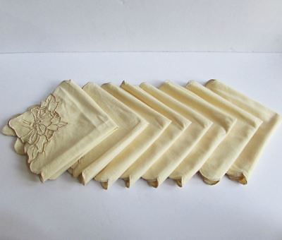 """Set of 8 Vintage Ecru Madeira Embroidered Dinner Luncheon Napkins 13"""" by 13"""""""