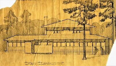 Limited Edition Print, Early 20th Century Drawing of Plumb Lake  WI Cottage