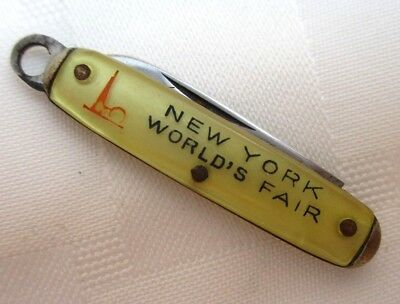 Vintage New York Worlds Fair Miniature Folding Pocket Knife 1 Blade Collectible