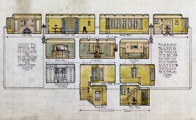 Limited Edition Print,  Early 20th Century Interior Room Elevations