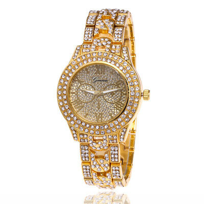 Wrist Watch Hip Hop Iced Out Rapper Rose Gold Silver Bling Men Women Luxury Gift