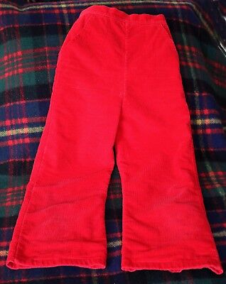 "Moms Vtg 1969~Vivid Red~Quality Corduroy~Flared Bottom Pants~26"" Long~ 23"" Waist"