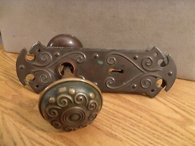 Antique Solid Brass Victorian Door Knobs and Lock Plates All Brass Beautiful
