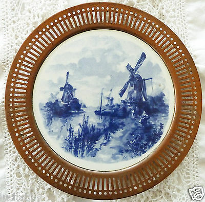 Antique Blue Delft Plate German Reticulated Copper Edge Windmills Fields Germany