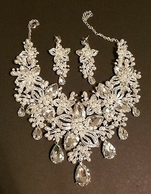 Fashion Wedding Bridal Pageant Jewelry  Crystal Set Necklace and Post Earrings