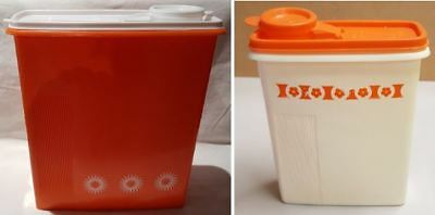 Vintage 2 x Hostess Housewares Orange Cereal Keeper Large + Small c1960s 29cm
