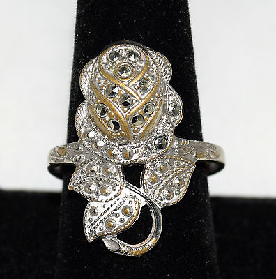 Vintage Signed C & C Marcasite Rose Silver Plated over Brass Ring Size 10