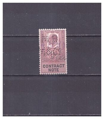 Great Britain Perfins used 3s Contract Note  1 stamp