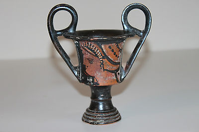 GOOD QUALITY ANCIENT GREEK POTTERY RED FIGURE KANTHAROS  4th CENTURY BC