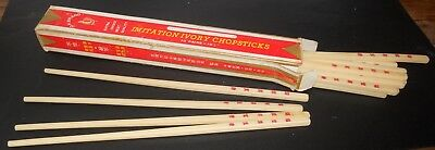 Vintage Imitation Ivory Chopsticks 10 Pair In Box