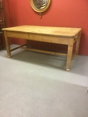 Victorian Pine Plank Top Kitchen Table With Drawers Under SN-483