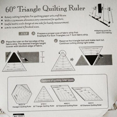 Quilting Ruler Triangle Tools Sewing Craft Measurement Patchwork Transparent