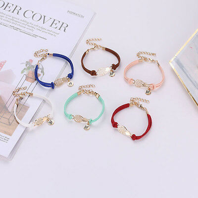 Multi Color Braided Rope Pineapple Letter Pendant Bracelet Women Jewelry Gift 6A