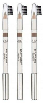 3 x L'Oreal Brow Artist Shaper 3 in 1 Eyebrow Pencil Shade 03 Brunette Pack of 3