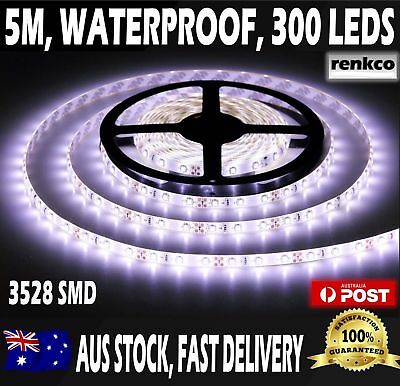 NEW LED Strip Lights Waterproof 300LEDs 5M Cool White 12V 3528 SMD IN AUS SELL