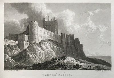 1829 Antique Print; Bamburgh Castle, Northumberland - William Westall