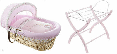 Brand new Izziwotnot natural wicker moses basket in pink lottie fairy princess