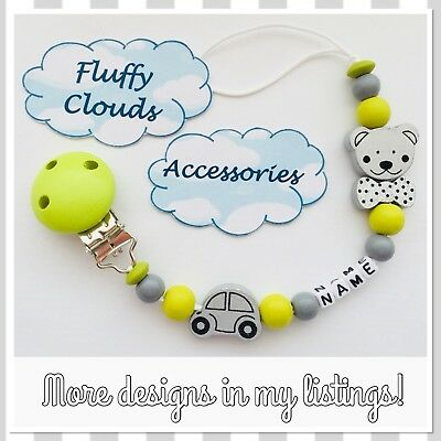 Cute Baby Personalized Wooden Bead Pacifier Shooter Dummy Holder Clip ~ Boys