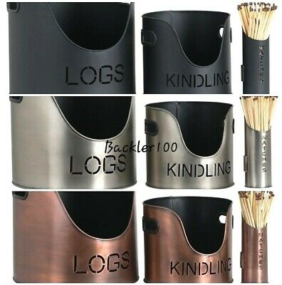 Set of Contemporary LOGS KINDLING MATCHSTICK Holders Buckets Display Baskets
