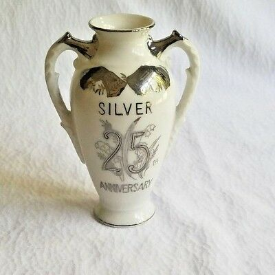 Norcrest 25th Anniversary Vintage Double Handle Bud/Vase Silver Trim Porcelain