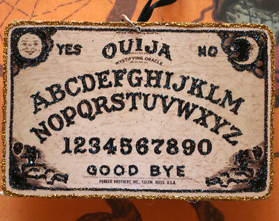 Glittered Wooden Halloween Ornament~Ouija Board~Vintage Image